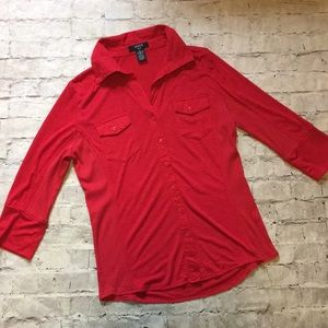 GORGEOUS Red Verve Ami 3/4 Sleeve Top!